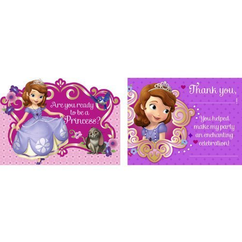 Sofia the First Invitation and Thank You Note Set for 8 (Sofia The First Thank You Notes)