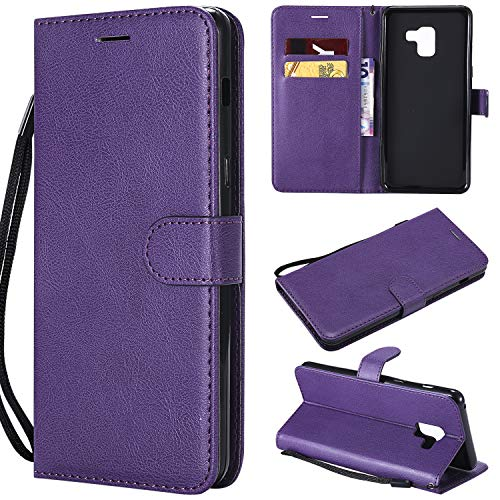 UDIKEFO Samsung A8 Plus Case Wallet, Case For Samsung A8 Plus, Solid Colored Premium PU Leather Wallet Flip Phone Protective Cover with Card Slots for Samsung Galaxy A8 Plus 2018 A730 A730F Purple
