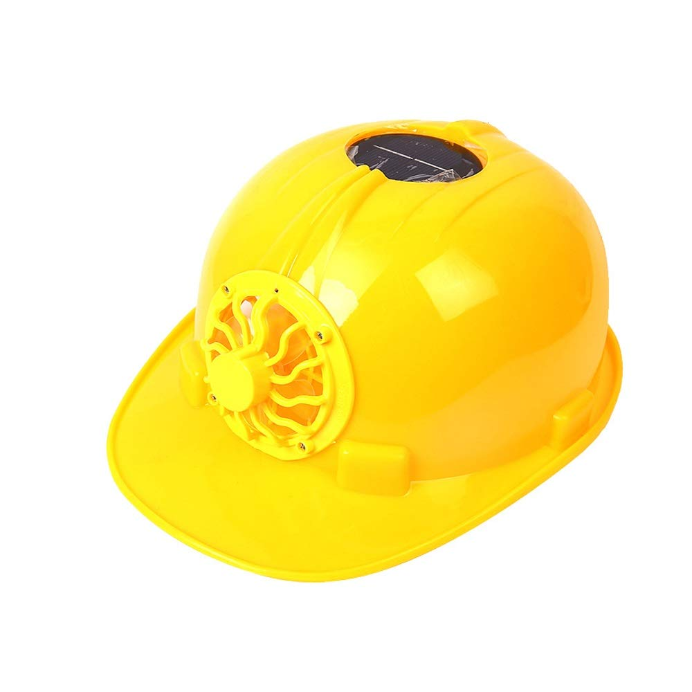 ZLH Hard hat - Fan Cap Factory Workers Summer Ventilation Solar with Fan Construction site Sun Visor hat Construction (Color : Yellow)