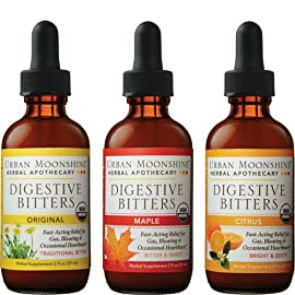 Urban Moonshine Digestive Bitters Variety Pack, 1 Original Bitters, 1 Maple Bitters, 1 Citrus Bitters, 2 FL OZ (3 CT) 27 Relieves gas, bloating & occasional heartburn Helps with appetite regulation Supports healthy liver function