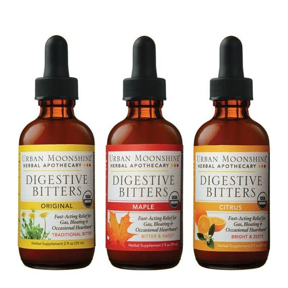 Urban Moonshine Digestive Bitters Variety Pack, 1 Original Bitters, 1 Maple Bitters, 1 Citrus Bitters, 2 FL OZ (3 CT) 1 Relieves gas, bloating & occasional heartburn Helps with appetite regulation Supports healthy liver function
