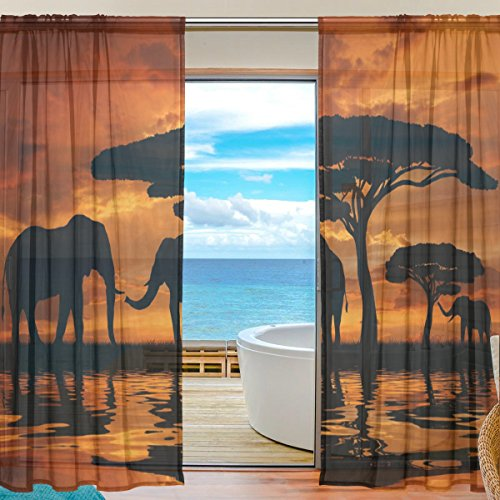 SEULIFE Window Sheer Curtain, African Animal Elephant Tree Sunset Voile Curtain Drapes for Door Kitchen Living Room Bedroom 55x78 inches 2 Panels by SEULIFE