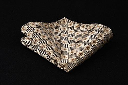 Square Handkerchief Wheat Pocket Set amp; Necktie Tie Burlywood Extra Long Check HISDERN Gold Men's qAvwIn8Pz