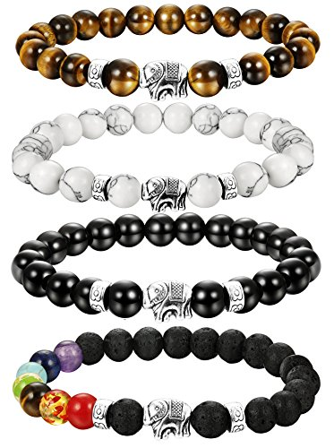 LOLIAS 4 Pcs Natural Stone Bead Bracelet for Men Women Elephant Chakras Bracelet Set Adjustable