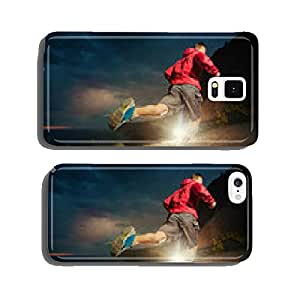 Man running in the mountains at night cell phone cover case Samsung S6