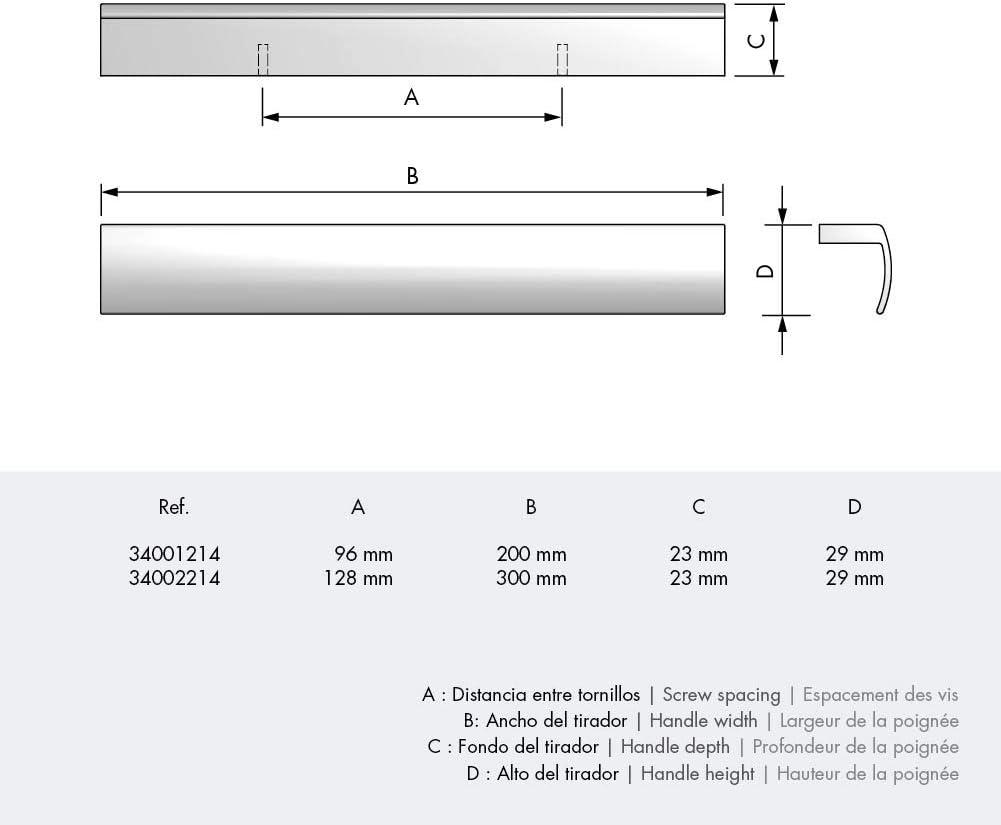 Tirador para armario Tiradores cl/ásicos y modernos ancho 200mm Tirador rectangular para mueble o armario Casaenorden