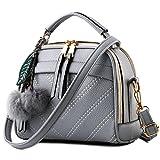 YouNuo Women's Fashion PU Leather Square Top-handle Handbag Small Crossbody Shoulder Bag with Cute Tassel