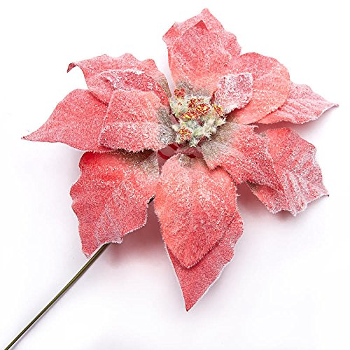 Factory Direct Craft Heavily Flocked Artificial Poinsettia Picks for Indoor Decor - 6 Picks
