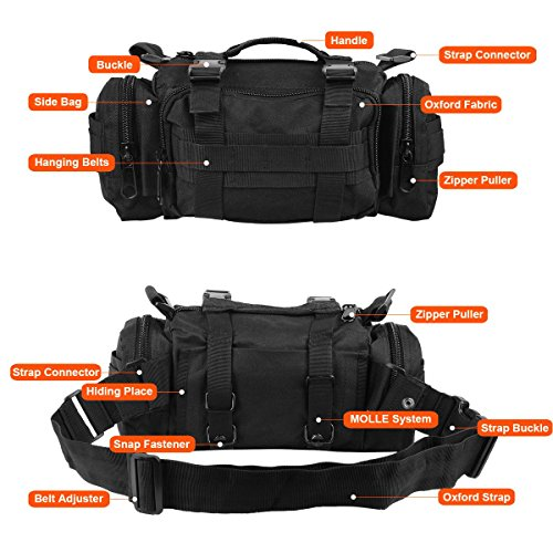 ZETOM Cycling Bicycle Bike Bag, Multi purpose Heavy duty Waterproof 800D Nylon Oxford Outdoors Bag, Bike Handlebar and Top Tube Bag, Shoulder Bag Waist Bag Messenger Bag (Black)