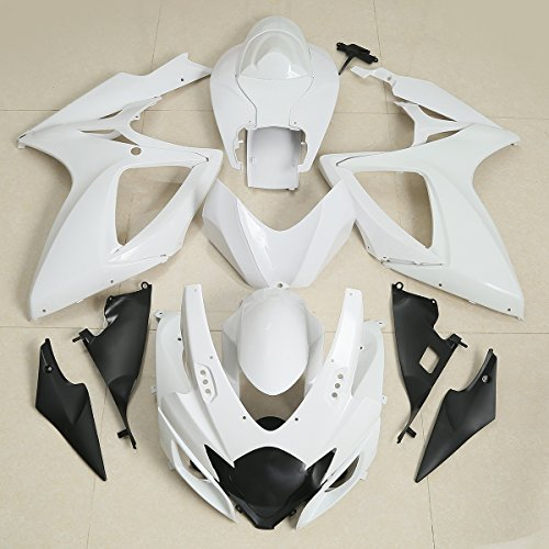 XFMT Motorcycle White Unpainted ABS Plastic Fairing Cowl Bodywork Set For SUZUKI GSXR GSX-R 600 750 GSXR750 2006 2007 (Fairing Body Plastic)