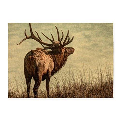 CafePress Rustic Western Wild Elk Decorative Area Rug, 5'x7′ Throw Rug