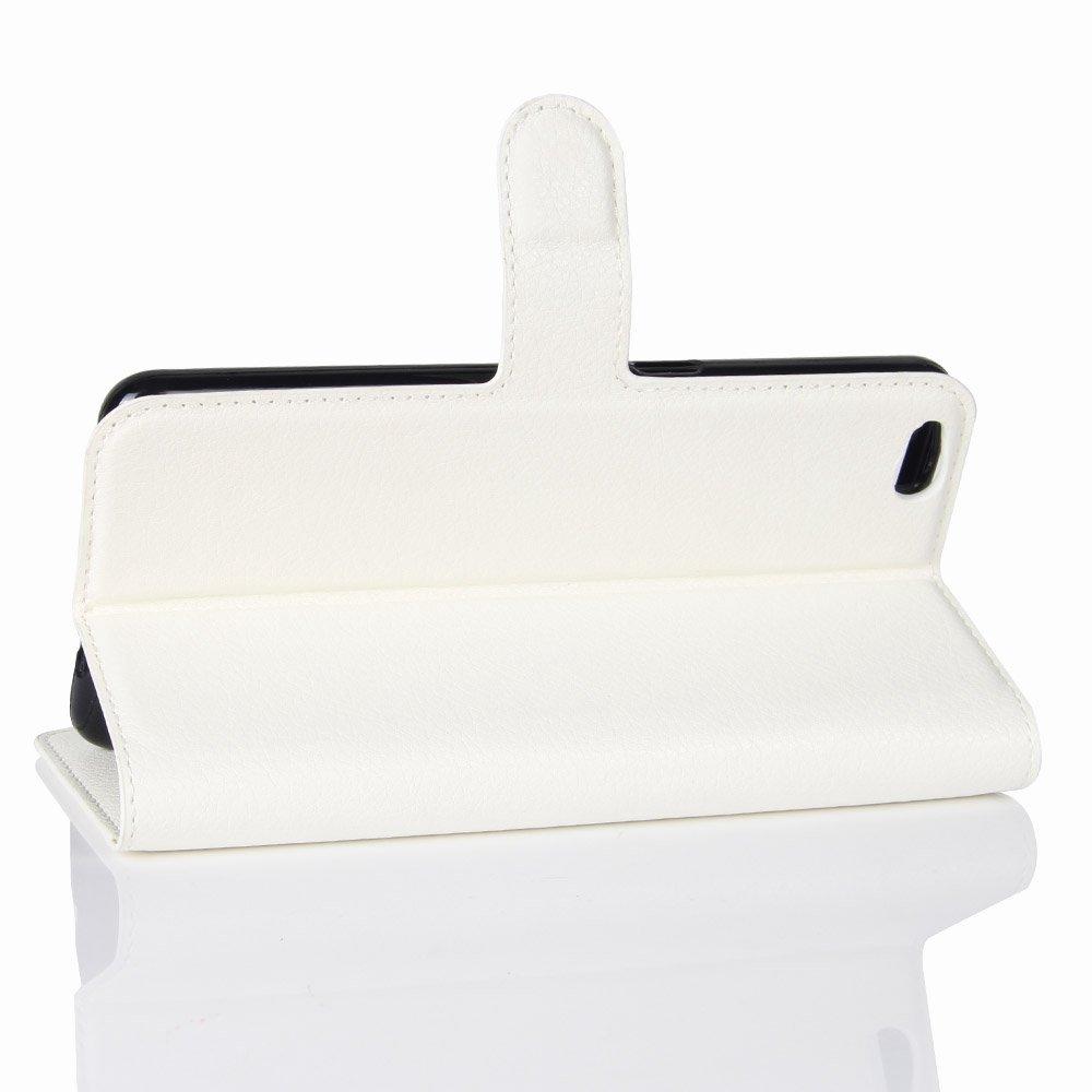 Guran® Funda de Cuero PU Para ZTE Nubia M2 Lite Smartphone Función de Soporte con Ranura para Tarjetas Flip Case Cover Caso-blanco