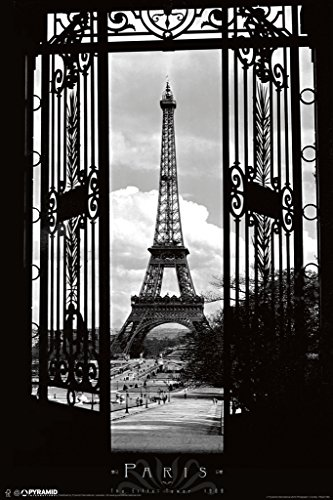 Eiffel Tower Through The Gates Paris France Romantic Landmark 1909 Photograph Photo Poster (Eiffel Tower Merchandise)