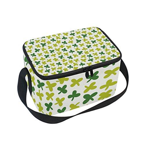 Bolso de almuerzo con patrón de trébol de cuatro hojas, con cremallera, bolsa térmica con cremallera, bolsa para almuerzo, bolso de mano para picnic, escuela, mujeres, niños
