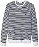 Lacoste Men's Made in France Stripe Crew with Side Zipper Sweater, AH3007, White/Ship/Red, 3