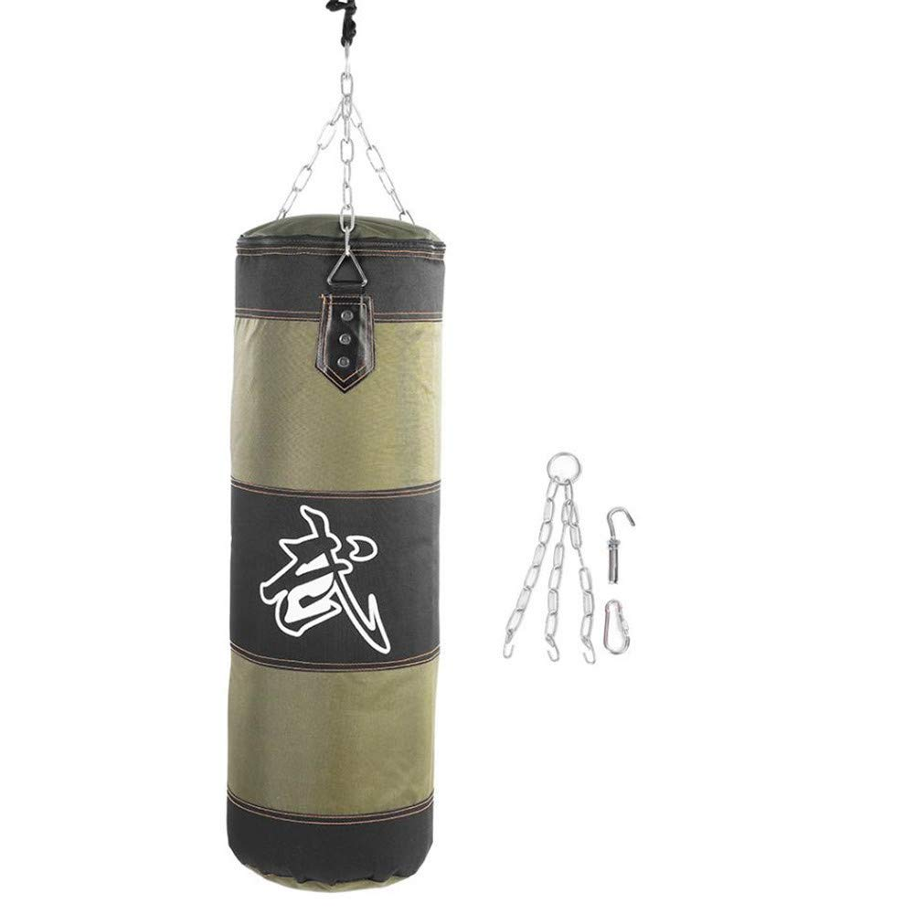Kpffit Empty Boxing Sand Bag Hanging Kick Sandbag Boxing Training Fight Karate Punch Punching Sand Bag with Metal Chain Hook Carabiner (Green, 1M Type 1) by Kpffit