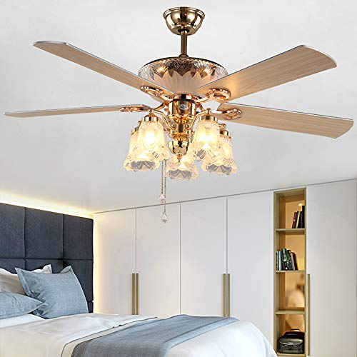 AndersonLight Modern Ceiling Fan with 5 Reversible Blades 5 Frosted Light Kit and Remote Control, Quiet Fan, Ecological Chandelier Fan, Golden Finish, 52-Inch