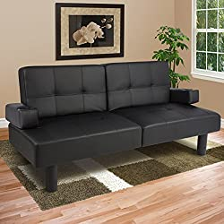 Wakrays Leather Faux Fold Down Futon Sofa Bed Couch Sleeper Furniture Lounge Convertible (US Stock)