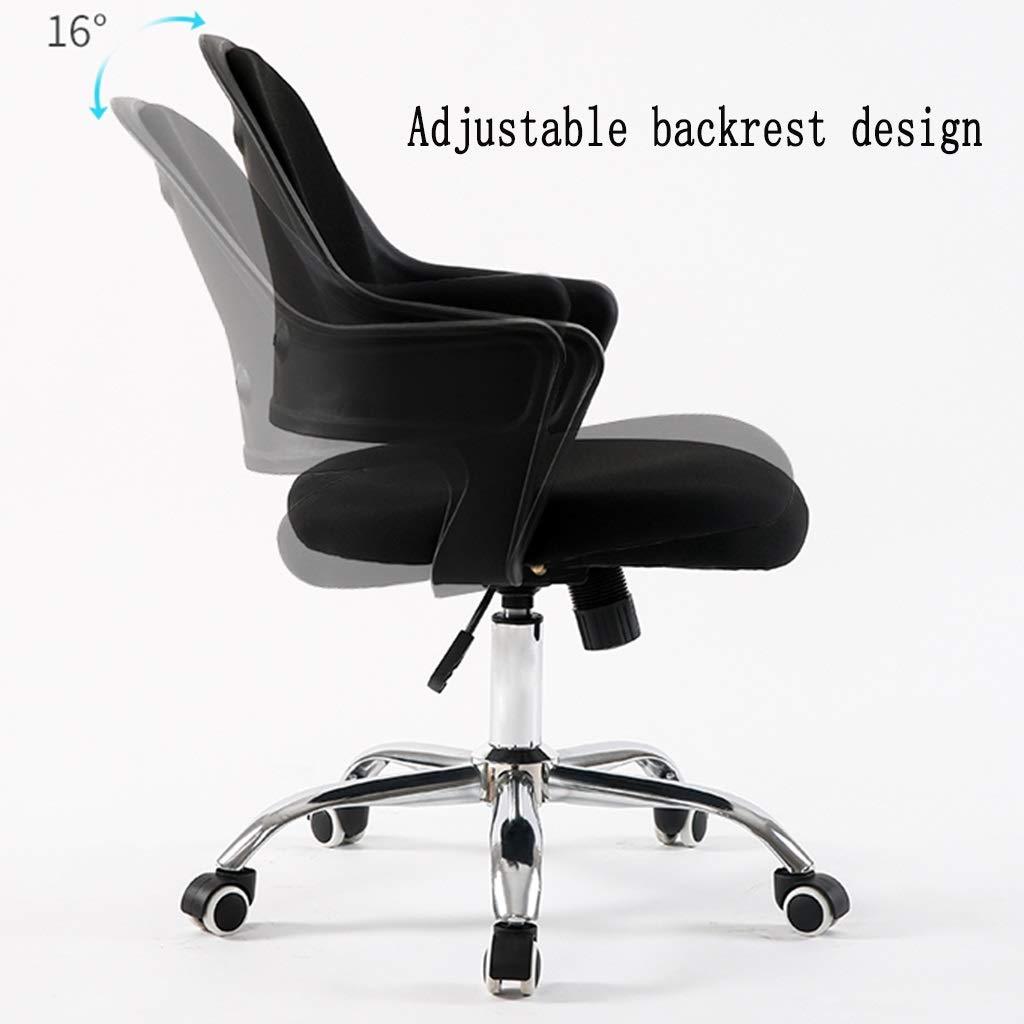 ZZHZY BBGS kontor svängbar stol, justerbar skrivbordsstol datorstol justerbar och vridbar uppgift stol för hemmakontor arbetsrum (färg: svart) Svart