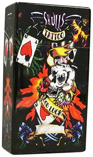 Love Cigarette Case - Auto Open Cigarette Box Cases for 100's Tattoo Style Prints Skulls Tiger Gambling (Good Luck Gambliing Skull)