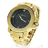 Techno Mens Hip Hop Iced Out Luxury Baller Diamond Bezel Analog Wristwatch Gold