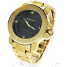 Techno Mens Hip Hop Iced Out Luxury Baller Diamond Bezel Analog Wristwatch Gold, Black Dial