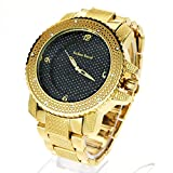 Techno Mens Hip Hop Iced Out Luxury Baller Diamond Bezel Analog Wristwatch Gold
