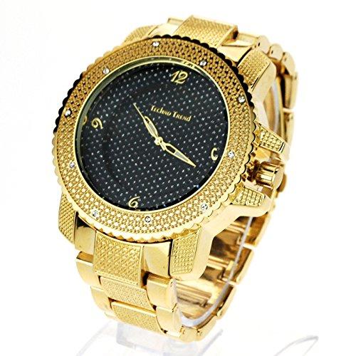 Black Diamond Gold Dial (Techno Mens Hip Hop Iced Out Luxury Baller Diamond Bezel Analog Wristwatch Gold, Black Dial)