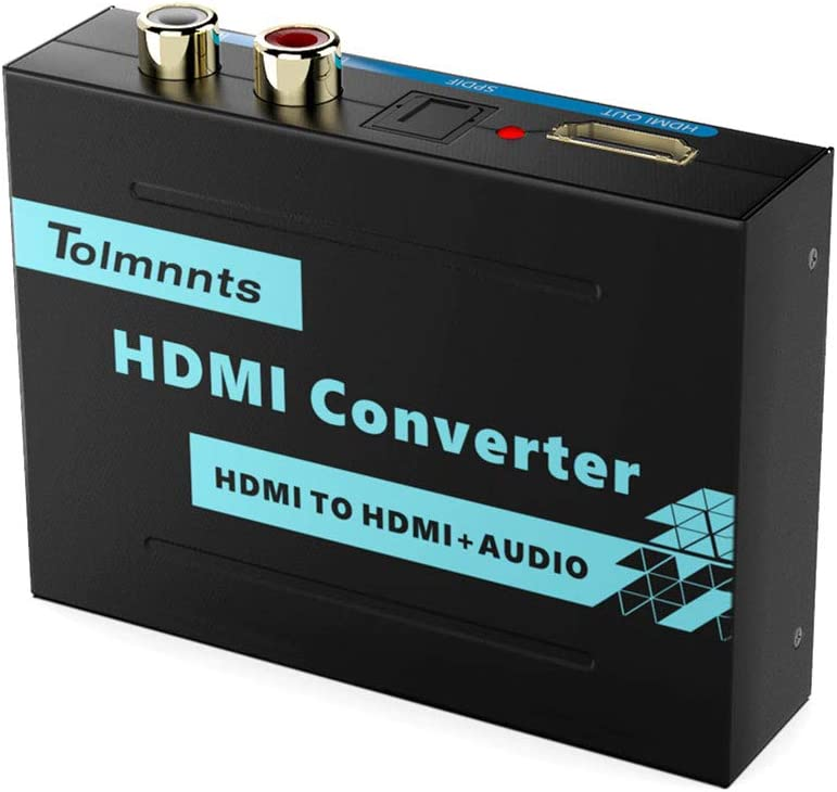 Tolmnnts HDMI Audio Extractor Stereo Analog Outputs,Support Full HD,4K@30Hz,1080P,3D,Compatible with Xbox PS3 PS4 Fire Stick Roku Blu-Ray Player HDTV HDMI to HDMI RCA Optical Toslink SPDIF L//R