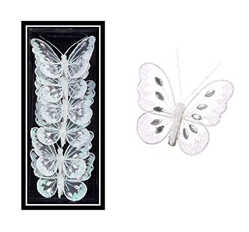 WHITE BUTTERLIES 8Cm Jewelled Mesh Clip On Butterfly Wedding Or Party Table Decoration Craft Christmas Decoration (12)