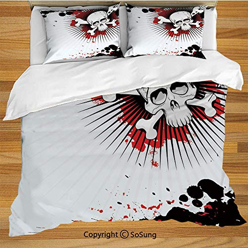 Halloween Queen Size Bedding Duvet Cover Set,Skull with Crossed Bones Over Grunge Background Evil Scary Horror Graphic Decorative 3 Piece Bedding Set with 2 Pillow Shams,Pearl Red Black]()