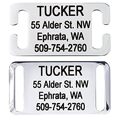 GoTags Slide-On Pet ID Tags, Personalized Dog and Cat Tags, Silent, No Noise Collar Tags Made of Stainless Steel, Custom Engraved