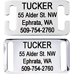 GoTags Slide-On Pet ID Tags, Personalized Dog and Cat Tags, Silent, No Noise Collar Tags Made of Stainless Steel, Custom Engraved, (Open for Snap Closure Collars)