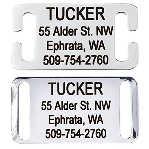 Slide-On Pet ID Tags. Personalized Dog & Cat Tags. Silent, No Noise Collar Tags made of Stainless Steel. Custom Engraved. (Open for Snap Closure Collars)