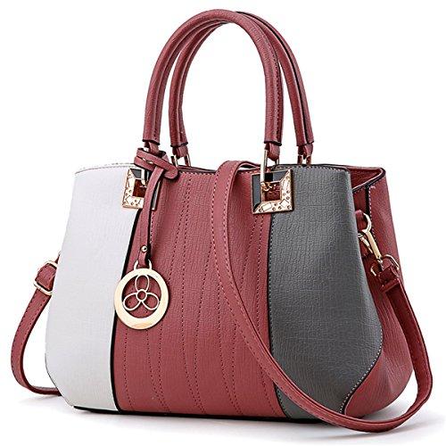 Bolso de Hombro simple señoras bolso bolso, gris Rosa 3 colores