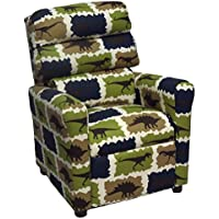 Brazil Furniture 1455 Childrens Waterfall Back Recliner, Rex Stellar Blue/Natural
