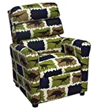 Brazil Furniture 1455 Children's Waterfall Back Recliner, Rex Stellar Blue/Natural