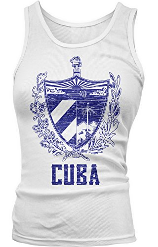 Amdesco Junior's Cuban Coat of Arms, Coat of Arms of Cuba Tank Top, White XL