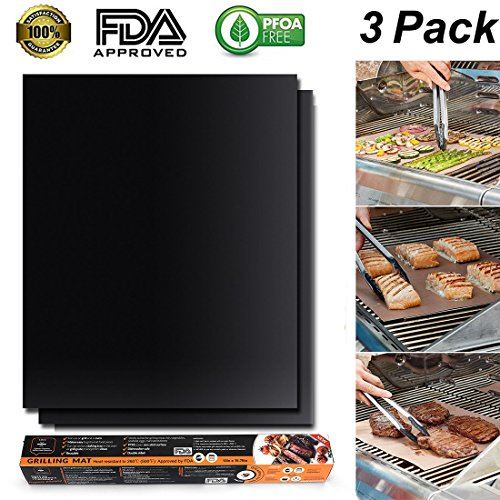 BBQ Grill Mat (Set of 2), Grill Mat Perfect for Charcoal, Electric and Gas Grill - Reusable, Easy to Clean, Essential Grilling Accessories for Home Cooks and Grillers by SmartStereo