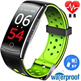 Ereon Sport Fitness Tracker HR - IP68 Waterproof Smart Watch with Heart Rate Monitor Oxygen Monitor Blood Pressure Sleep Monitor Outdoor Swim Run Pedometer Smart Wristband (Green)