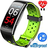 Ereon Sport Fitness Tracker HR – IP68 Waterproof Smart Watch with Heart Rate Monitor Oxygen Monitor Blood Pressure Sleep Monitor Outdoor Swim Run Pedometer Smart Wristband for Men Women Prime Gift