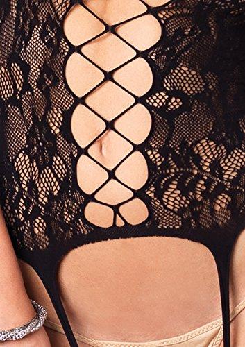 Leg Avenue Women's Floral Bouquet Lace Suspender Bodystocking With Net Panel Detail, Black, One Size by Leg Avenue (Image #3)