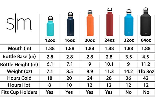 Simple Modern 20oz Ascent Water Bottle - Hydro Vacuum Insulated Tumbler Flask w/Handle Lid - Double Wall Stainless Steel Reusable - Leakproof Pattern: Florista