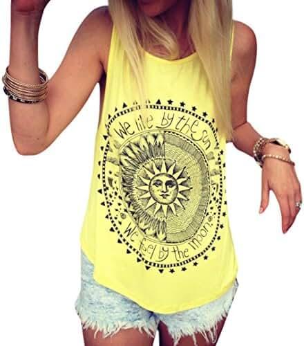 Sleeveless Summer T-shirt,Beautyvan Comfortable Design Sexy Women Sun Printed Blouse Sleeveless Vest Blouse Casual Tank Tops (XL, Yellow)