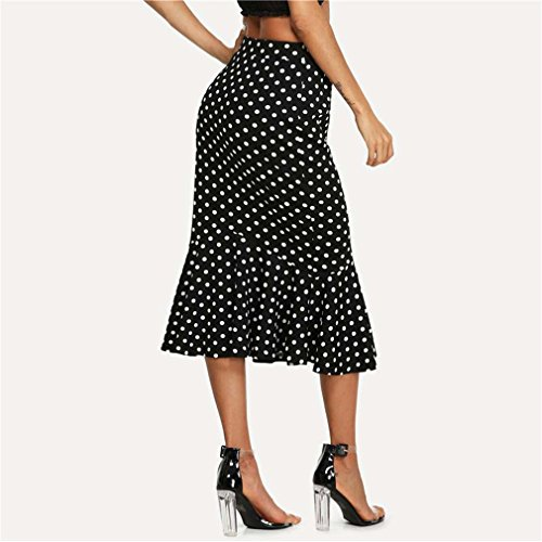 Femmes Jupe Black Hem Dot Stretchy Gaine D't Ruffle Jupes Taille Et Jupe Polka Fishtail Noir Dcontractes Blanc Mi 1qcvHBT