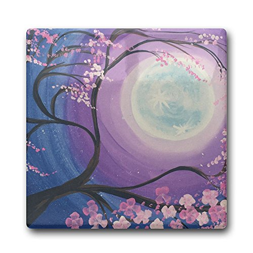 Creative Cherry Blossoms And Moon Design Square Coasters Cork Ceramic Coasters For Kitchen Dining Bar Office Home Decor