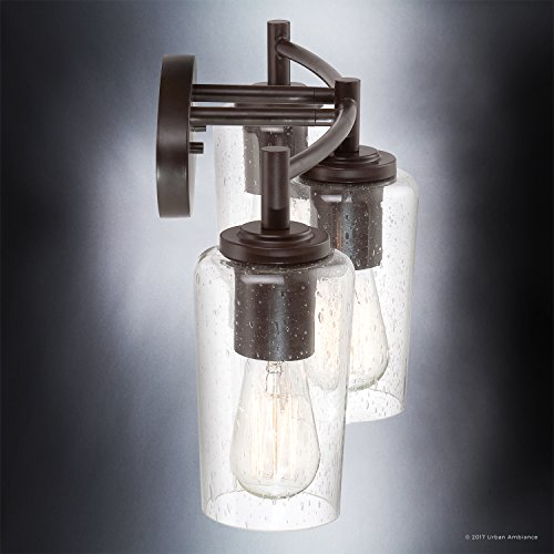 Luxury Vintage Bathroom Vanity Light, Medium Size: 10''H x 23''W, with Antique Style Elements, Elegant Estate Bronze Finish and Seeded Glass, Includes Edison Bulbs, UQL2272 by Urban Ambiance by Urban Ambiance (Image #4)