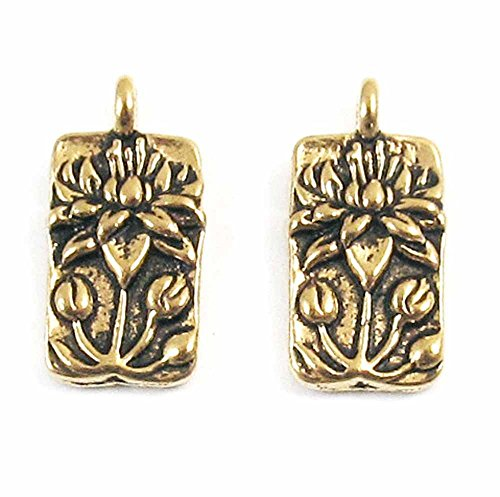 TierraCast Pewter Rectangle Charms-GOLD FLOATING LOTUS (2)