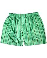 Royal Silk® - Sexy Green Island Madras Stripes - Men's Silk Boxers