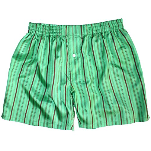 (Royal Silk¨ - Sexy Green Island Madras Stripes - M - MenÕs Silk Boxers)
